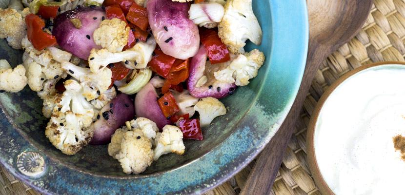 Gerösteter Blumenkohl mit rotem Weinbergpfirsich